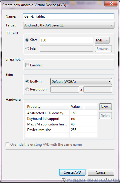 Android SDK new AVD