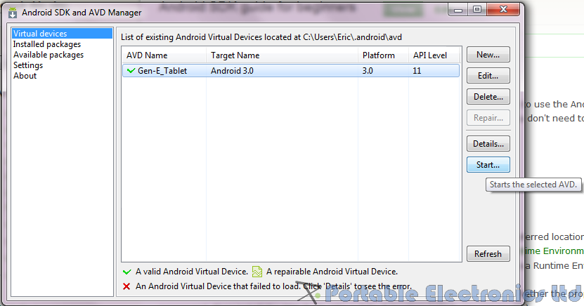 Android SDK start AVD